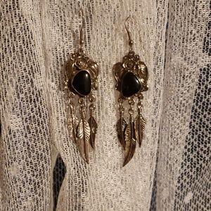 Jewelry - Onyx Feather Earrings